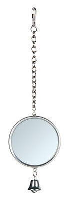 Metal Frame Bird Mirror with Hanging Chain & Bell Budgie Canary Cage Toy 5cm