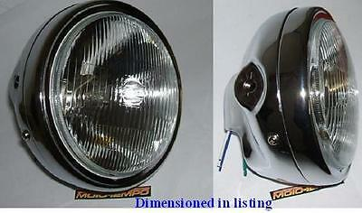 """Round Metal 7"""" Motorcycle Chrome Headlight M10 Side Mount Bobber Cafe Racer"""