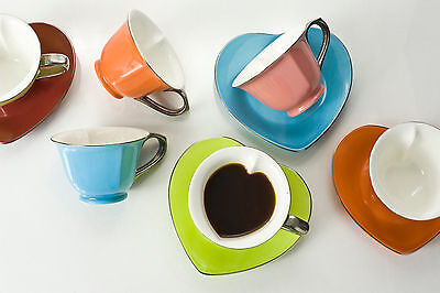 Yedi Coffee & Tea Inside Out Heart Cups & Saucer Plates Set of 6 Platinum Handle