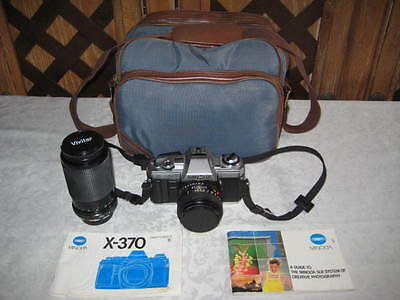 CLEAN MINOLTA X-370 SLR FILM CAMERA W/ 50 MM AND VIVITAR SERIES 1 70-210 MM LENS