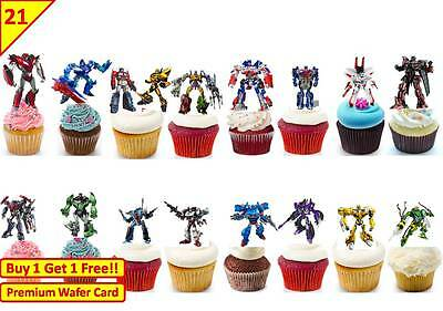 42 TRANSFORMERS Birthday Party Cup Cake Edible Wafer Rice Toppers Stand up
