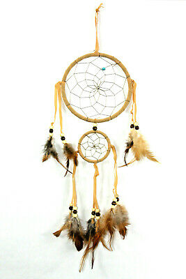"""5"""" Dream Catcher Two Rings with Beads and Feathers Color CHOICE"""