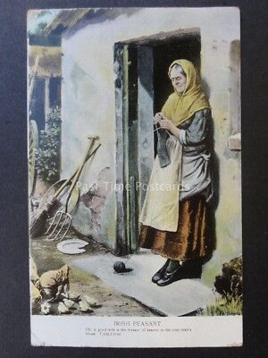 Ireland IRISH PEASANT Knitting 'A Good Wife is the Blessin' c1906 Old Postcard