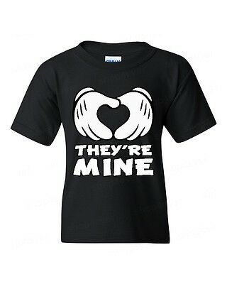 Their Mine heart gesture YOUTH T-SHIRT couple family shirts kid's tee