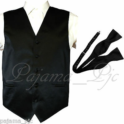 BLACK Solid Vest Waistcoat and Self Tie Bow Tie Suit or Tuxedo Wedding Party