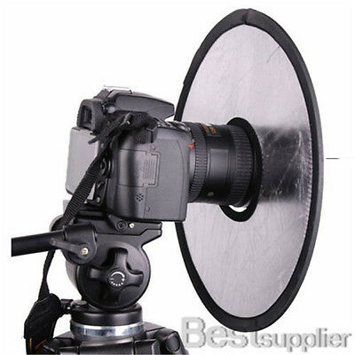"Photography 12"" 2in1 Circular Hand Lens Mount Light Reflector Silver/Gold Studio"