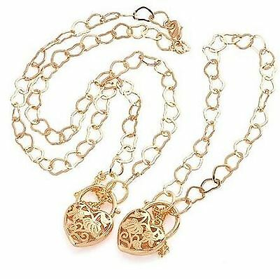 9ct Gold Filled Big Floral Heart Pendent/Chain and Bracelet 19inches/49cm Set33