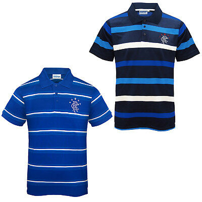 Rangers FC Official Football Gift Mens Striped Polo Shirt