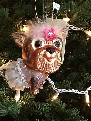 Yorkshire Terrier in White  Tutu Glass Ornament Pet Dog Christmas Holiday NWT
