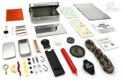 MINI SURVIVAL TIN Outdoor Bushcraft Hiking Scouts Military Emergency Kit UK-Made