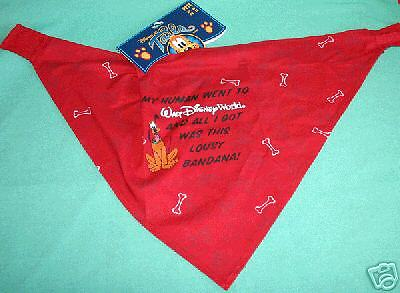 "Disney Parks Red Dog Scarf My Human Went To Disney World Medium Large 22-26"" New"