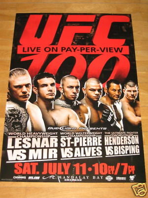 UFC 100 POSTER - GEORGES ST-PIERRE DAN HENDERSON LESNAR MIR BISPING 39 x 27 INCH