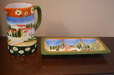 Olive Tray and Pitcher,  Tuscan Theme by Nantucket Design
