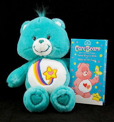 "Talking Care Bear Plush Thanks a Lot 12"" Bear Rainbow Star with VHS Tape"