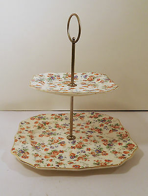 Dorset Cheery Chintz For Erphila China Germany 2-Tiered Tidbit Serving Tray