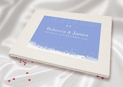 Personalised A5 White Linen Finish Wedding Guest Book - Blue Snowdrop