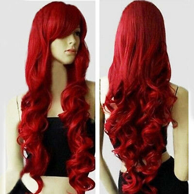 "32"" Womens Long Heat Resistant Big Spiral Curl Dark Red Cosplay Wig Facial 80cm"
