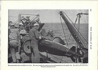 1919 print/WWI sailors loading torpedoes photo