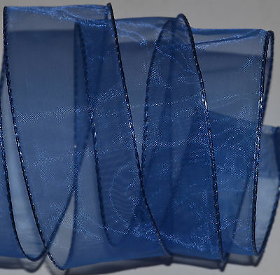 """Wired Ribbon~Sheer~Dark  Blue~Holiday~Gift~Wreath~Christmas~1.5""""~Craft~Bow"""