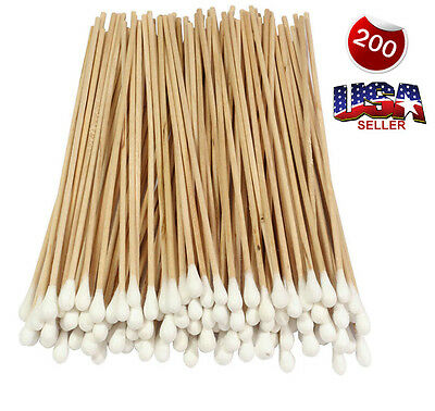 """200 Cotton Swab Applicator Q-tip With Stem Stick 6"""" Extra Long Wood Handle Swabs"""