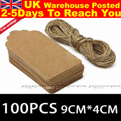 100PCS 9 x 4cm Kraft Paper Gift Tags Price Wedding Scallop Label Blank Luggage
