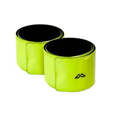 Kathmandu Running Walking Cycling Reflective Snap Wrist Arm Bands Yellow