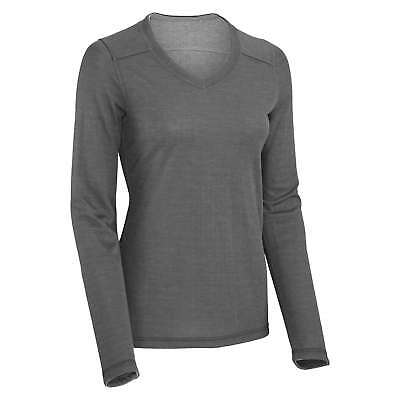 Kathmandu Adan Womens Drirelease Tencel Long Sleeve V Neck Reversible Top Grey