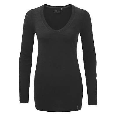 Kathmandu Mosmin Womens Rib Knitted V Neck Merino Wool Jumper Pullover Black