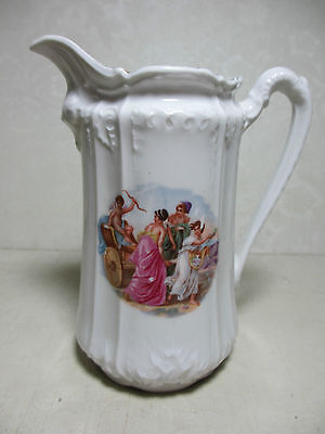Antique Small Pitcher to Wash Set Unknown Maker Decal: Chariot Cupid Women