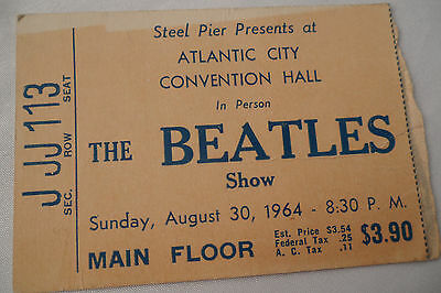 BEATLES Original 1964 CONCERT Ticket STUB - Atlantic City, NJ