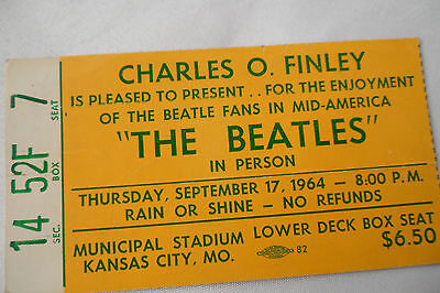 BEATLES Original  1964  CONCERT Ticket STUB - Kansas City, MO