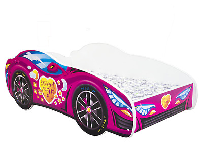 CHILDRENS BED TODDLER KIDS WITH MATTRESS ! RACING CAR BED! 160x80 + FREE SHELF