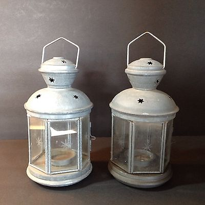 Pair Of Vintage (?) Turkish Lanterns With Star Etched On 6 Sides