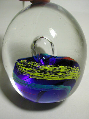 Vintage Glass Paperweight Large Controlled Bubble Sits on Multi-Colored Cushion