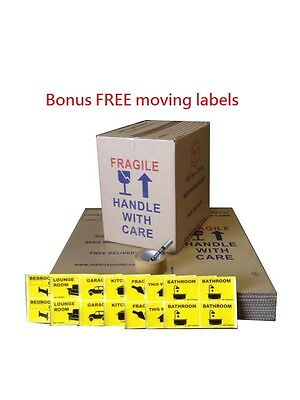 10 x 50L Moving Box 402mmX298mmX399mm Cardboard Carton Removal Pack