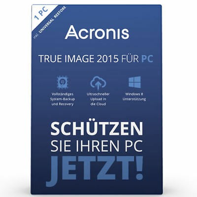 Acronis True Image 2015 1 PC Backup & Recovery / Vollversion  Deutsch  DVD + Key
