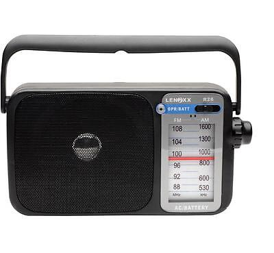 Lenoxx R26 Am/fm Radio Black With Earphone Socket Batteries Or Ac-Dc Powered