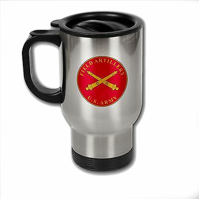 Stainless Steel Mug with U.S. Army Field Artillery branch plaque