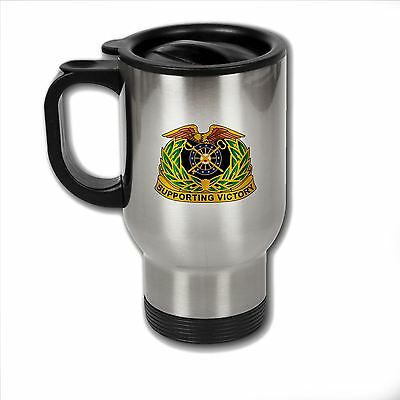 Stainless Steel Mug with U.S. Army Quartermaster Corps regimental insignia