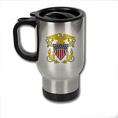 Stainless Steel Mug with U.S. Navy Officer badge