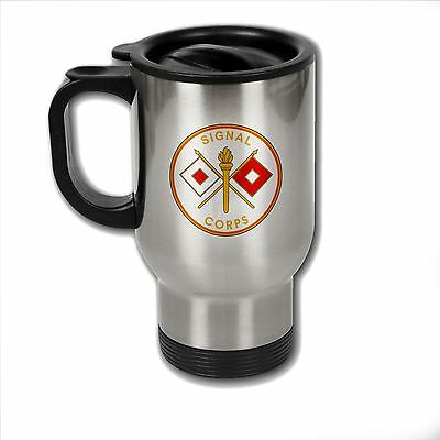 Stainless Steel Mug with U.S. Army Signal Corps branch plaque