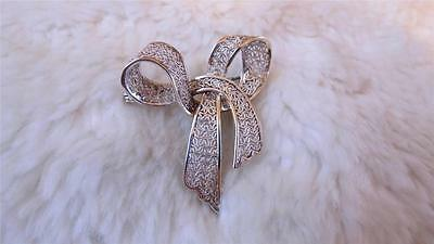 Vintage 'Foreign' 925 Sterling Silver Filigree Ribbon Bow Brooch