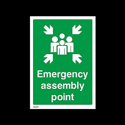 Emergency Assembly Point - Plastic Sign, Sticker - All Sizes - MISC131