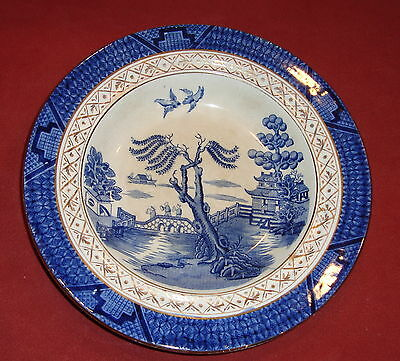 Circa 1910 Booths REAL OLD WILLOW Rimmed Soup Bowl made for W H PLUMMER & CO NY