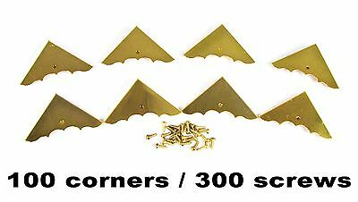 100pc. BULK PACK of Beautiful Shiny Gold Finish Box Corners with Screws