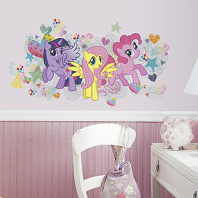 New Giant MY LITTLE PONY WALL DECALS Girls Bedroom Stickers Ponies Pink Decor