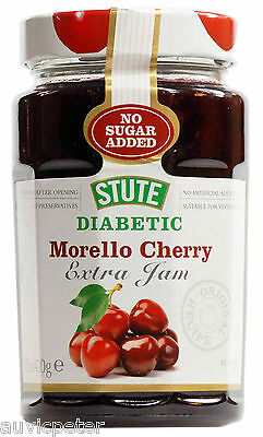 Stute Diabetic Morello Cherry Extra Jam 430g, No Sugar Added, No Preservatives