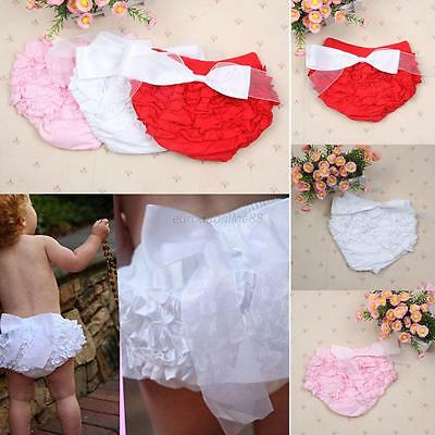 Sweet Baby Girl Cotton Blend Ruffle Bow Bloomer Diaper Nappy Cover PP Pants Hot