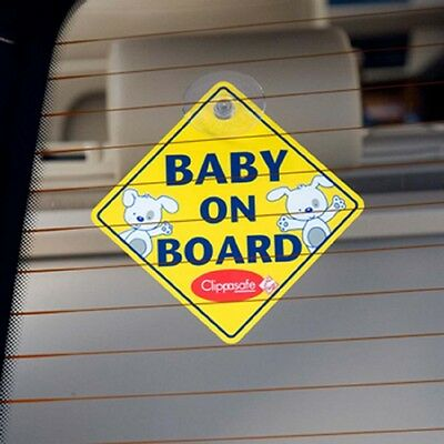 Clippasafe Premium Baby On Board Sign w/ Suction Cup Vehicle Safety Bright Sign