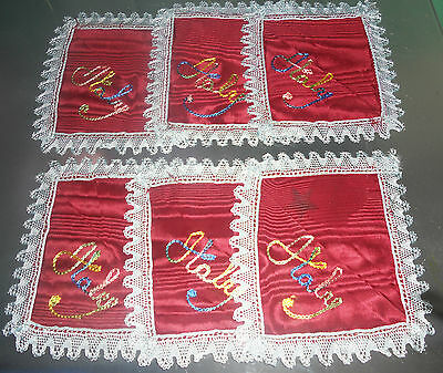 Vintage Set 6 Napkins 1 Placemat ITALIAN Hand-Embroiderered World War II Era